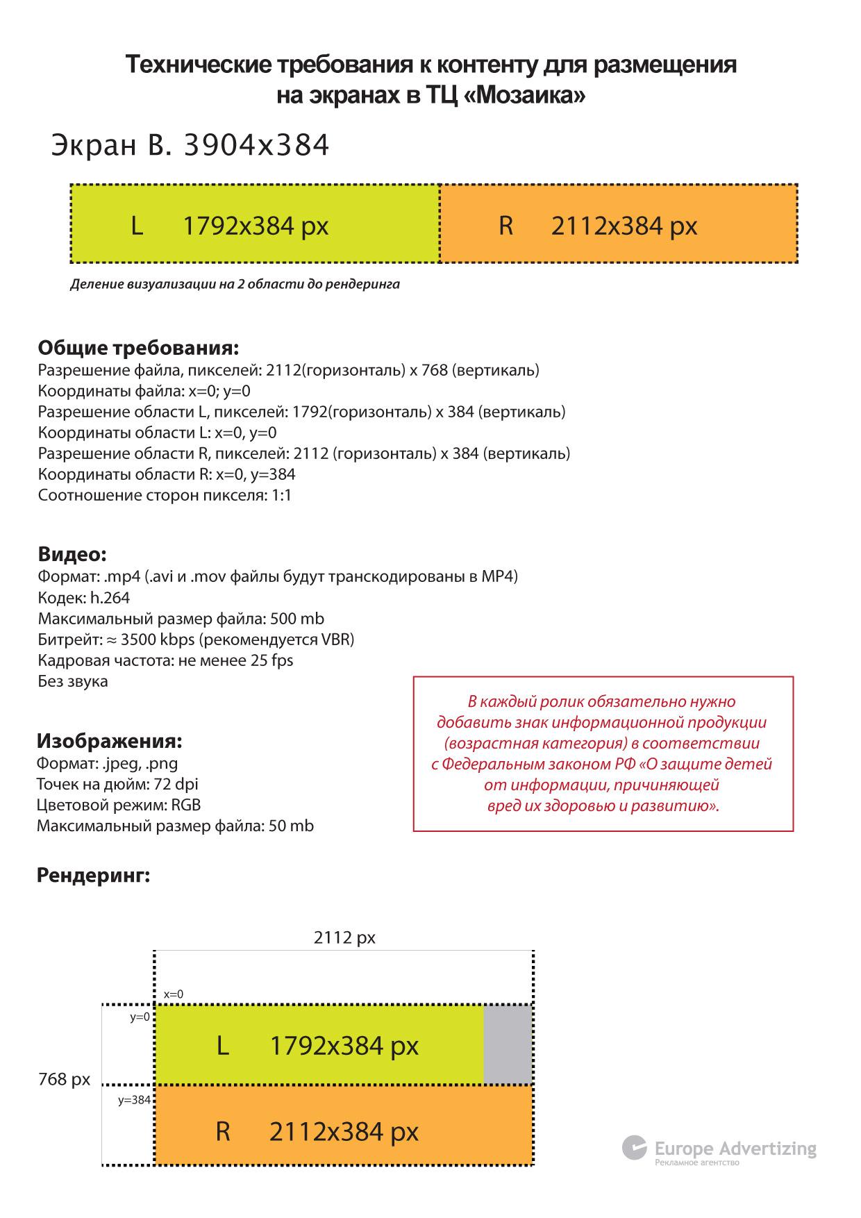 Технические требования к контенту для размещения на экранах в ТЦ -Мозаика-B